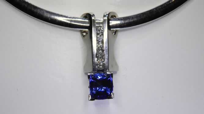 14k White Gold Tanzanite and Diamond Slide