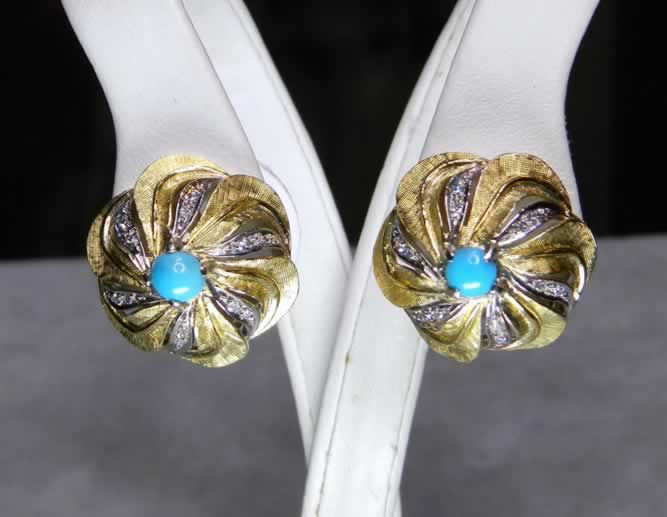 18k Yellow Gold Persian Turquoise Earrings